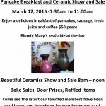 Club Deportivo Pancake Breakfast and Ceramics Show: March 12
